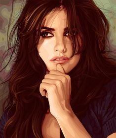 I really like Penelope Cruz even though she stole Javier from me. I think she is a really lovely person with a lot of soul and she is the century's version of Sophie Loren, x Music Illustration, Creative Illustration, Illustration Styles, Vector Portrait, Vector Art, Vector Illustrations, Hair Vector, Face Art, Art Faces