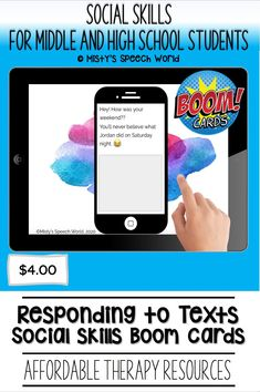 $4.00 · If you're looking for Boom cards for speech therapy to work on social skills for teens, these cards are just what you are looking for. This is a NO prep speech therapy activity: Buy now and you are ready to go! Find this and many more speech therapy resources for teens at Misty's Speech World! Buy now: to purchase this deck of boom cards, click on this pin and purchase to add this therapy resource to your speech therapy toolkit! Problem Solving Activities, Reading Task Cards, Learning Cards, Speech Therapy Activities, Effective Communication, High School Students, Social Skills, Special Education, Teenagers