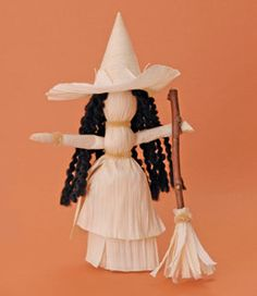 The Mother Nature Networklists five eco-Halloween crafts including acorn pumpkins and this cute little cornhusk witch from FamilyFun.com.