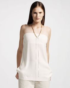Brunello Cucinelli Silk Tube Top: Ivory. Strapless neckline. Side slash pockets. Silk/spandex. Made in Italy.