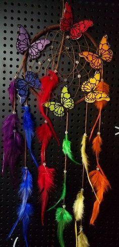 Rainbow Butterfly Dream Catcher by wildzebra on Etsy, $35.00