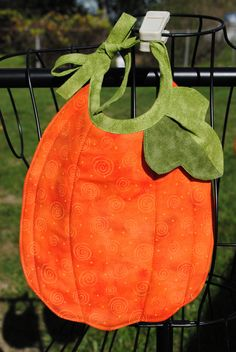 Pumpkin Baby Bibs  set of 2 by ColeenO on Etsy, $10.00