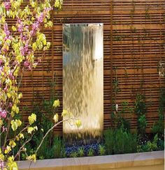 Stainless Flat Mirror Wall Modern Water Feature Solar Powered – Famous Last Words Large Water Features, Indoor Water Features, Water Features In The Garden, Outdoor Wall Fountains, Indoor Fountain, Fountain Ideas, Water Fountains, Contemporary Water Feature, Garden Mirrors