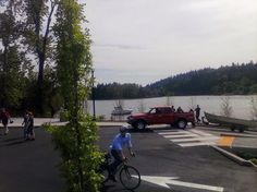Boats, Bikes, Pedestrians, Trucks-- many ways to access the water now. #Milwaukie #Riverfront