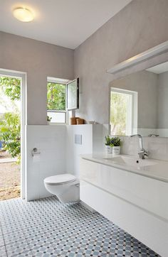 Bath room by Thea Gordon Childrens Bathroom, Bathroom Kids, Bathroom Colors, Small Bathroom, Bathroom Interior Design, Bathroom Styling, Bathroom Storage, Black And White Tiles Bathroom, Grey Bathrooms