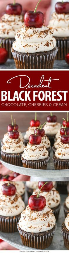 Black Forest Cupcakes - moist chocolate cupcake, homemade cherry filling and fresh vanilla whipped cream on top Baking Cupcakes, Yummy Cupcakes, Cupcake Recipes, Baking Recipes, Dessert Recipes, Vanilla Cupcakes, Dessert Ideas, No Bake Desserts, Just Desserts