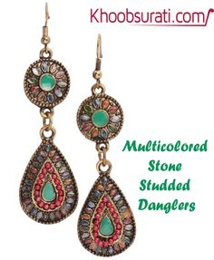 #Online_Shopping #Shopping_Online @ Khoobsurati.com Get This #Ethnic #Multicolored #Stone #Studded #Danglers http://khoobsurati.com/pdt/zovon/zovon-ethnic-multicolored-stone-studded-danglers