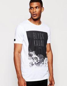 Black Kaviar Longline T-Shirt With Rose Print