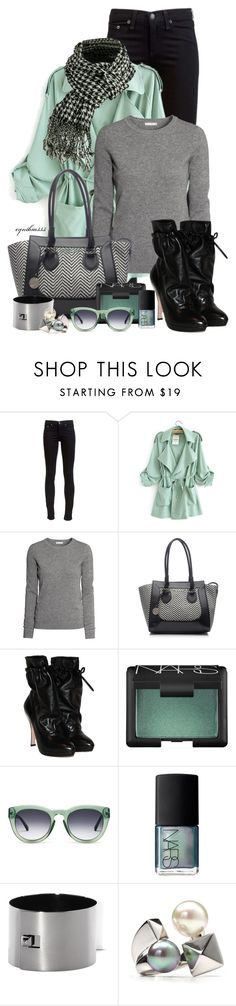 """Mint & Gray"" by cynthia335 ❤ liked on Polyvore featuring rag & bone, H&M, London Fog, Prada, NARS Cosmetics, GANT, Vince Camuto and Majorica"