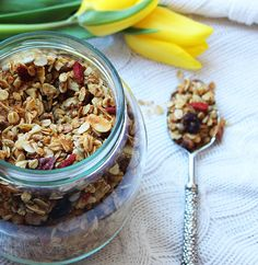 Golden Granola for delicious and healthy breakfast Golden Granola  In this fragrant crunchy granola I used rolled oats, sunflower seeds, coconut, walnuts, lots of vanilla, cinnamon, ginger, raisins, cranberries, goji berries, coconut oil, coconut sugar… Well, it was just delicious.