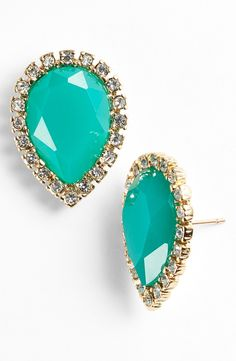 These turquoise and crystal Kate Spade earrings will look gorgeous with an up-do hairstyle.