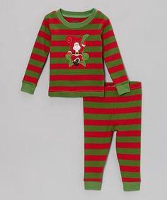 Love this Red & Green Stripe Santa Pajama Set - Infant, Toddler & Kids by Leveret on #zulily! #zulilyfinds