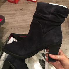 Vince Camuto navy suede ankle boots Gorgeous, brand new in box. Navy suede. True to size Vince Camuto Shoes Ankle Boots & Booties