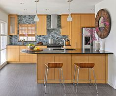 Flat-front cabinets set the stage for modern touches throughout the kitchen! Get more ideas here: http://www.bhg.com/kitchen/backsplash/kitchen-backsplash-ideas/?socsrc=bhgpin111414contemporarycombination&page=3