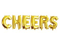 """CHEERS"" GOLD FOIL Balloons - Gold Foil Alphabet Balloon Combo Set ""Cheers"" (35cm / 14"") - Light & Co Crepe Paper Garland, Balloon Words, Long Distance Friendship, Honeycomb Paper, Hanging Letters, Golden Birthday, Paper Ribbon, 50 And Fabulous, Gold Party"