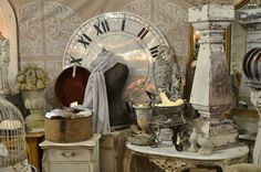 neutral vignette with large scale clock face as focal point