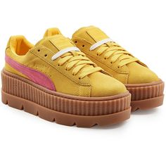 FENTY Puma by Rihanna The Cleated Creeper Sneakers (€105) ❤ liked on Polyvore featuring shoes, sneakers, yellow, yellow shoes, creeper sneakers, platform trainers, puma trainers and puma creeper