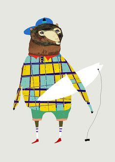 Bears Surf. limited edition art print by Ashley Percival. Kids art print.