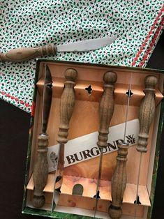 """미사용중고로 박스까지 있는 독일산 나이프6개 셋트"""""""" 사이즈 약 7센티 #WMF#Burgund#knives#woodstain... Cutting Board, Cutting Tables, Cutting Boards"""