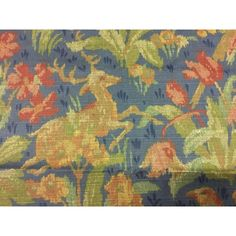 Schumacher Greeff Canterbury Hill Classic English Tapestry Style Multi-Purpose Cotton Print Fabric - 2.75 Yds | Chairish Navy Fabric, To Color, Canterbury, Schumacher, Blue Backgrounds, Deep Blue, Printing On Fabric, Deer, Purpose