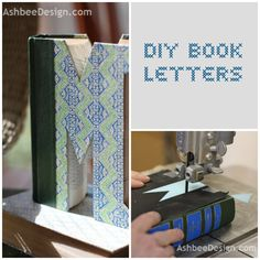 DIY Book Letters. PUT A LATCH ON THE OPEN END TO KEEP CLOSED, AND USE AS BOOKENDS.......  =)   *A