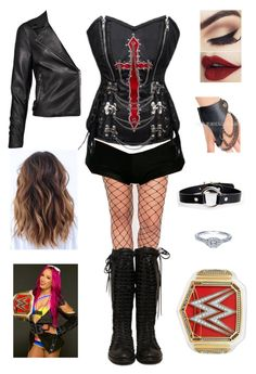 WWE Championship vs Sasha Banks by rosemlove on Polyvore featuring WWE