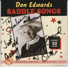 Saddle Songs by Don Edwards (CD, Sep-1997, 2 Discs, Shanachie Records) Signed  #CowboyCountry