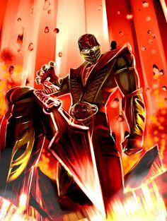 Digital Illustration of Mortal Kombat Characters Scorpion Mortal Kombat, Mortal Kombat X, King Koopa, Video Game Characters, Video Game Art, Comic Art, Comic Book, Fantasy Art, Darth Vader