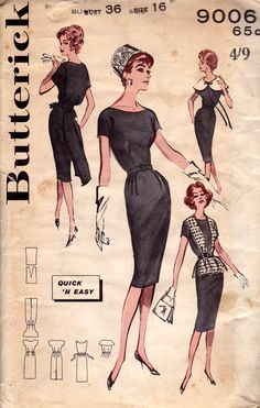 Butterick 9006 Womens Sheath Dress Oversized Collar Back Bow Overblouse 60s Vintage Sewing Pattern Size 16 Bust 36 inches UNUSED Factory Folded
