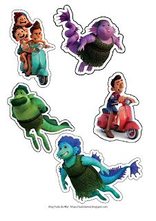 Cartoon Stickers, Cute Stickers, Luca, Disney Pixar, 2nd Birthday, Bowser, Tags, Anime, Fictional Characters