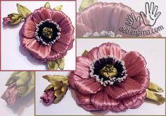 Flowers from tapes the hands. Ribbon Art, Lace Ribbon, Ribbon Crafts, Silk Ribbon Embroidery, Making Fabric Flowers, Felt Flowers, Flower Making, Kanzashi Tutorial, Bow Tutorial