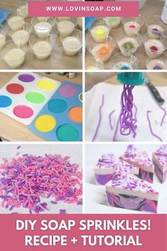 Here is a fun, quick and EASY DIY soap dough recipe and step-by-step tutorial for creating handmade cold process soap dough sprinkles! If soap sprinkles weren't fun enough, see what cool kid's toy I get to use to make these! Click through to make soap! Soap Making Recipes, Homemade Soap Recipes, Liquid Soap Making, Sprinkles Recipe, Soap Tutorial, How To Make Diy, Cold Process Soap, Dough Recipe, Easy Diy