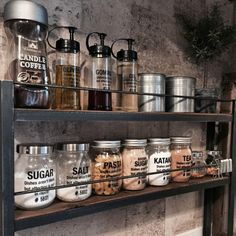 Like the jars on a rack idea. Could do jars and fill as needed. Syrup, powdered sugar, honey...