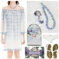Styling my blue purple crochet #necklace on #Polyvore #jewelry #handmade #fashion #boho #bohochic #bohemian #bohostyle #spring #summer #look #outfit
