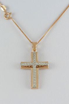Βαπτιστικός σταυρός με αλυσίδα, σε ροζ χρυσό με ζιργκόν, 14 καράτια, κορίτσι, κωδικό GS322 Christian Jewelry, Cross Jewelry, Crosses, Jewlery, Mary, Silver, Gold, Fashion, Chains