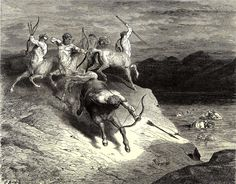 Gustave Dore - illustration to the Inferno, canto XII.  Dante and Virgil arrive at a river of blood: here boil the murderers and bandits. A group of Centaurs stand on the bank of the river with bows and arrows. They shoot at any soul that tries to raise itself out of the river to a height too pleasant for the magnitude of sin.