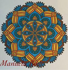 Uit Denksport Mandala ritme in kleur nr 1 | Gekleurd met Stabilo stiften | 22-06-2015