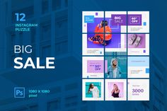 Instagram Puzzle – Big Sale, is a professional, modern and elegant template for your Instagram posts and Gallery. Inspirational Posts, model photography, product Gallery, introduce your brand and more. With this Instagram post template, you can easily improve the quality of your Instagram with a more attractive and professional one.This template is fully editable and can be customized in Adobe Photoshop. It's very simple to use these template in Photoshop. Just edit texts and put your… Instagram Banner, Instagram Posts, How To Introduce Yourself, Improve Yourself, Edit Text, Instagram Post Template, Layout Template, Text Color, Website Template