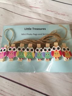 Owl Mini Photo pegs  Picture Pegs  artwork by CathsLittleTreasures