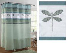 Dragonfly Bath Colorblock Shower Curtain