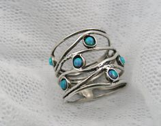 Opal and sterling silver BIG ocean wave ring by STarLighTstudiO3, $55.00