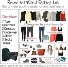 Where to Shop: American Apparel Cotton Spandex Jersey B … Are you taking a Round the World trip? Check out our ultimate packing guide for minimalist travel so you can travel light while looking stylish. Packing List For Travel, Packing Tips, Travel Tips, Smart Packing, Free Travel, Packing Checklist, Travel Ideas, Travel Essentials, Travel Packing Outfits