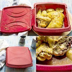 pollo, patatas, asado, vapor, microondas