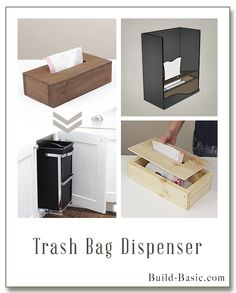 Finally...I can keep the trash bags right where I need them! This dispenser actually sits right in the base of the trash. Just remove the full bag and pull a new one up! Building plans (with pictures) by @BuildBasic www.build-basic.com #BuildBasic #DIY #Woodworking #FreePlans #KitchenStorage #WhiteCabinets