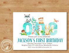 Woodland First Birthday Invitation |Boy Birthday Invite | 1st Birthday Woodland Party | Boy 1st Birthday | Printable DIY | 1515