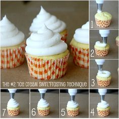 "How to Perfectly Frost Cupcakes 101: The ""Ice Cream Swirl""  (Wilton tip 806)."