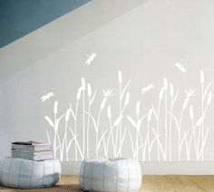 Amazon.com: Reed & Dragonflies Peel & Sticker Home Wall Art Sticker Decal: Home & Kitchen