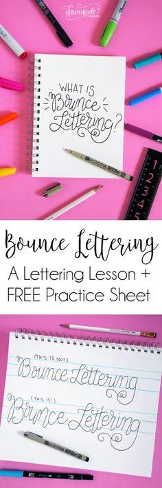 Wie man Bounce Lettering macht.  Was ist Bounce Lettering?  Finden Sie heraus, in diesem Schriftzug Tutorial und greifen die FREE Bounce Lettering Worksheet zu üben!  Aufrechtzuerhalten  Dawnnicoledesigns.com