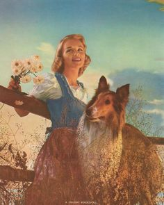 Vintage Color Lithograph Print  Woman Collie by vintagegoodness, $9.95