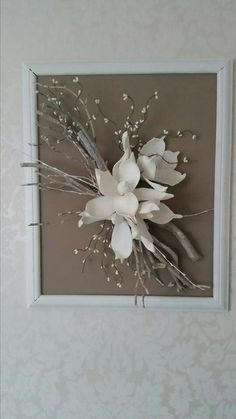 Caught some dry branches, no one thought what he would use Bid . Home Design : Caught some dry branches, no one thought what he would use Bid . Diy Wall Art, Diy Art, Flower Crafts, Flower Art, Dried Flowers, Paper Flowers, Rama Seca, Branch Decor, Frame Crafts